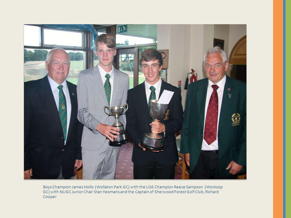Boys Champion James Hollis (Wollaton Park GC) with the U16 Champion Reece Sampson (Worksop GC) with NUGC Junior Chair Stan Yeomans and the Captain of Sherwood Forest Golf Club, Richard Cooper