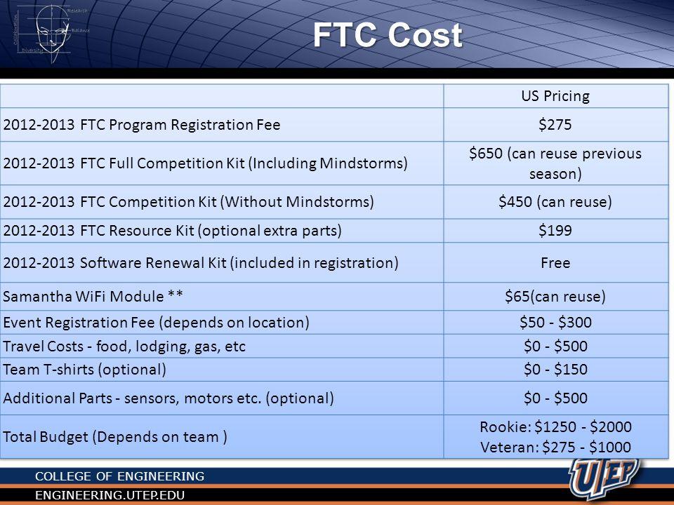 COLLEGE OF ENGINEERING ENGINEERING.UTEP.EDU FLL Cost