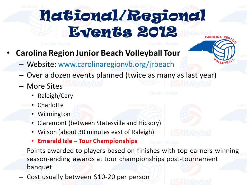 Carolina Region Junior Beach Volleyball Tour – Website: www.carolinaregionvb.org/jrbeach – Over a dozen events planned (twice as many as last year) –