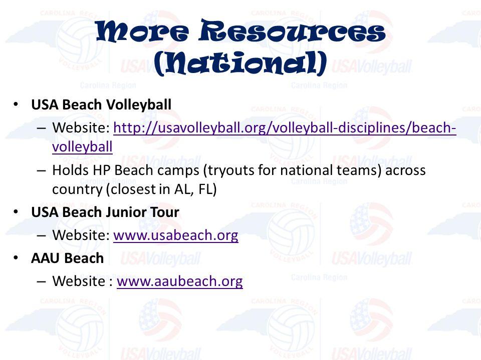USA Beach Volleyball – Website: http://usavolleyball.org/volleyball-disciplines/beach- volleyballhttp://usavolleyball.org/volleyball-disciplines/beach