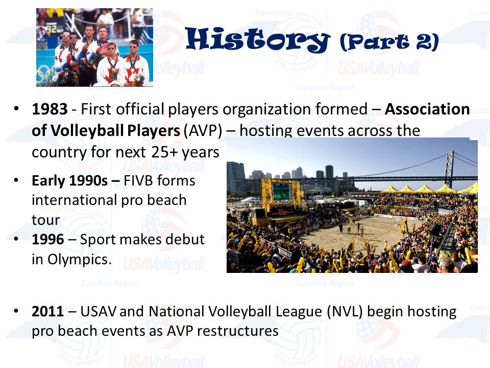 1983 - First official players organization formed – Association of Volleyball Players (AVP) – hosting events across the country for next 25+ years History (Part 2) Early 1990s – FIVB forms international pro beach tour 1996 – Sport makes debut in Olympics.