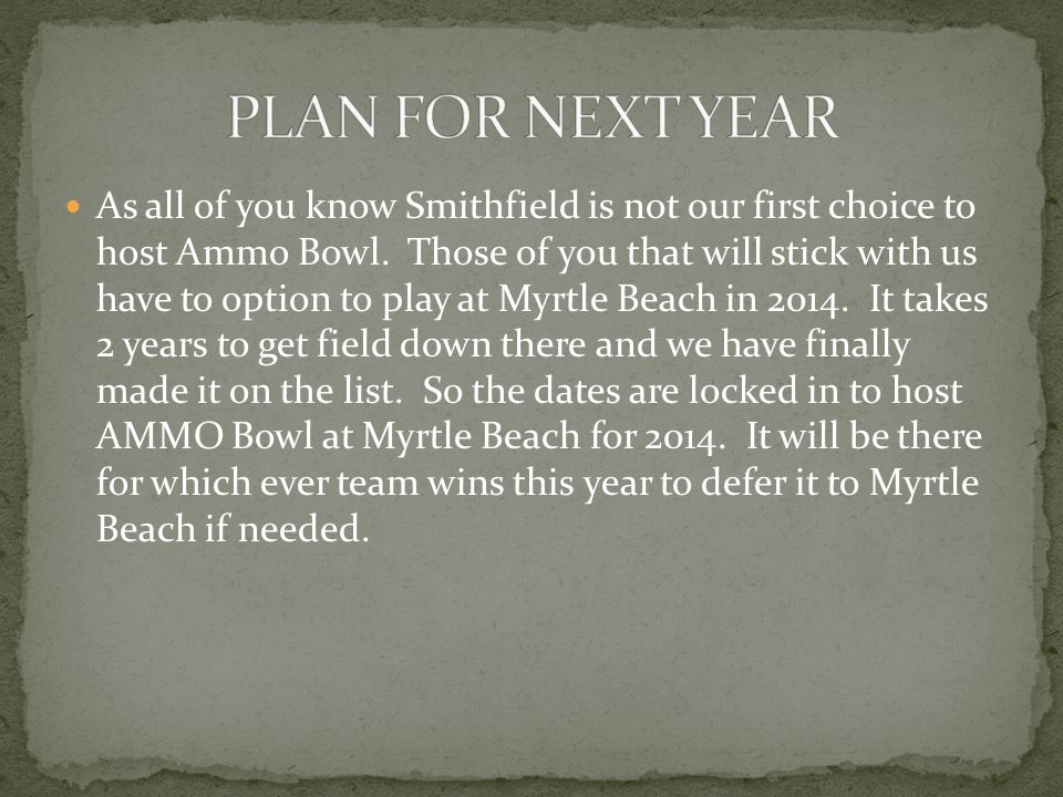 As all of you know Smithfield is not our first choice to host Ammo Bowl.
