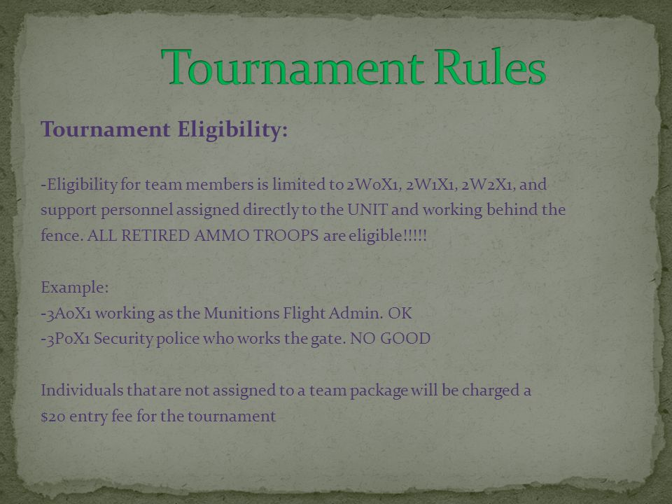 Tournament Eligibility: -Eligibility for team members is limited to 2W0X1, 2W1X1, 2W2X1, and support personnel assigned directly to the UNIT and working behind the fence.