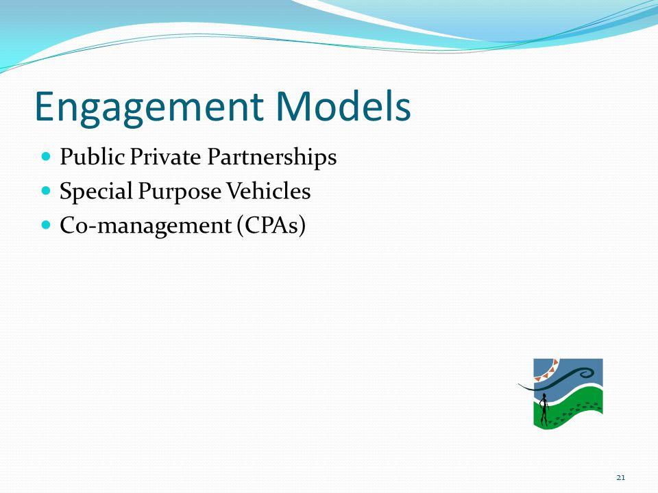 Engagement Models Public Private Partnerships Special Purpose Vehicles Co-management (CPAs) 21