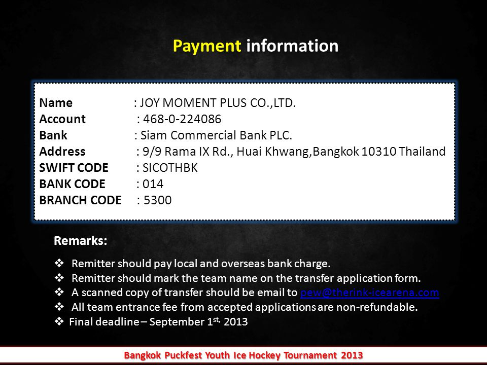 Payment information Name : JOY MOMENT PLUS CO.,LTD.