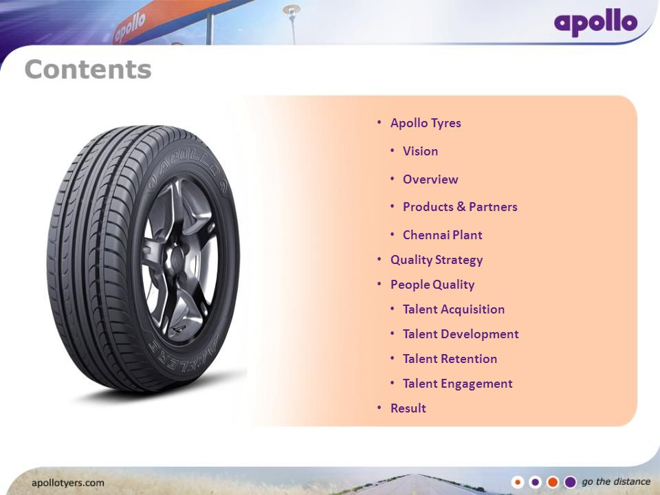 Apollo Tyres Vision Overview Products & Partners Chennai Plant Quality Strategy People Quality Talent Acquisition Talent Development Talent Retention