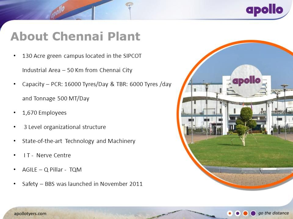 130 Acre green campus located in the SIPCOT Industrial Area – 50 Km from Chennai City Capacity – PCR: 16000 Tyres/Day & TBR: 6000 Tyres /day and Tonna