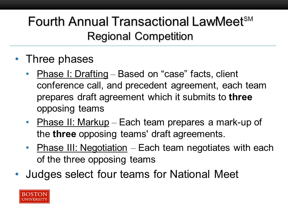 Boston University Slideshow Title Goes Here Three phases Phase I: Drafting – Based on case facts, client conference call, and precedent agreement, each team prepares draft agreement which it submits to three opposing teams Phase II: Markup – Each team prepares a mark-up of the three opposing teams draft agreements.