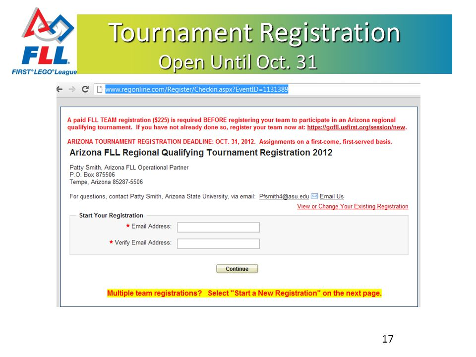 Tournament Registration Open Until Oct. 31 Tournament Registration Open Until Oct. 31 17