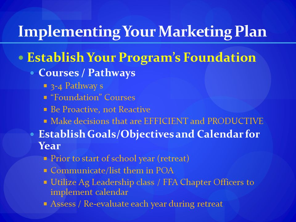 Implementing Your Marketing Plan Establish Your Programs Foundation Courses / Pathways 3-4 Pathway s Foundation Courses Be Proactive, not Reactive Mak