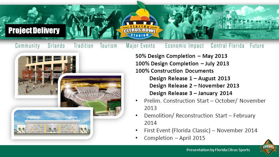 Presentation by Florida Citrus Sports 50% Design Completion – May 2013 100% Design Completion – July 2013 100% Construction Documents Design Release 1 – August 2013 Design Release 2 – November 2013 Design Release 3 – January 2014 Prelim.