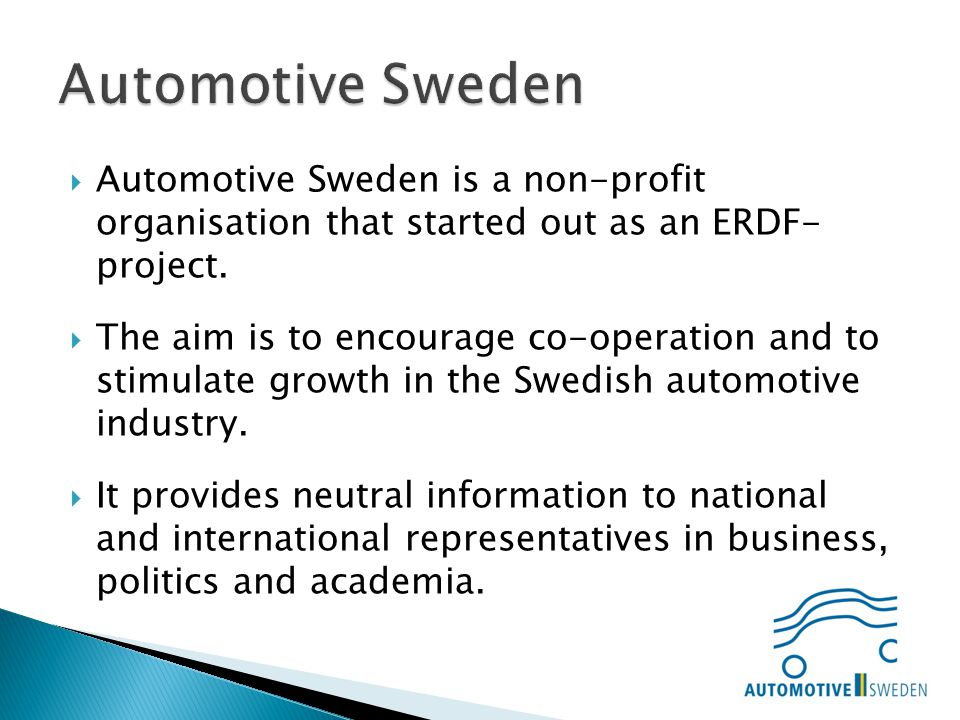 Automotive Sweden is a non-profit organisation that started out as an ERDF- project.