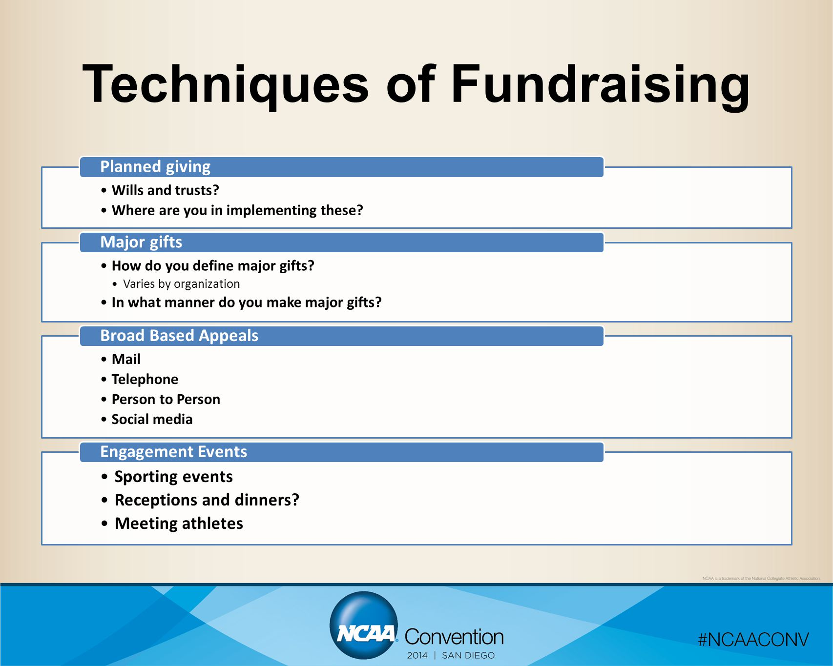 Techniques of Fundraising Wills and trusts? Where are you in implementing these? Planned giving How do you define major gifts? Varies by organization