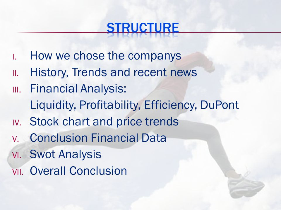 I. How we chose the companys II. History, Trends and recent news III. Financial Analysis: Liquidity, Profitability, Efficiency, DuPont IV. Stock chart