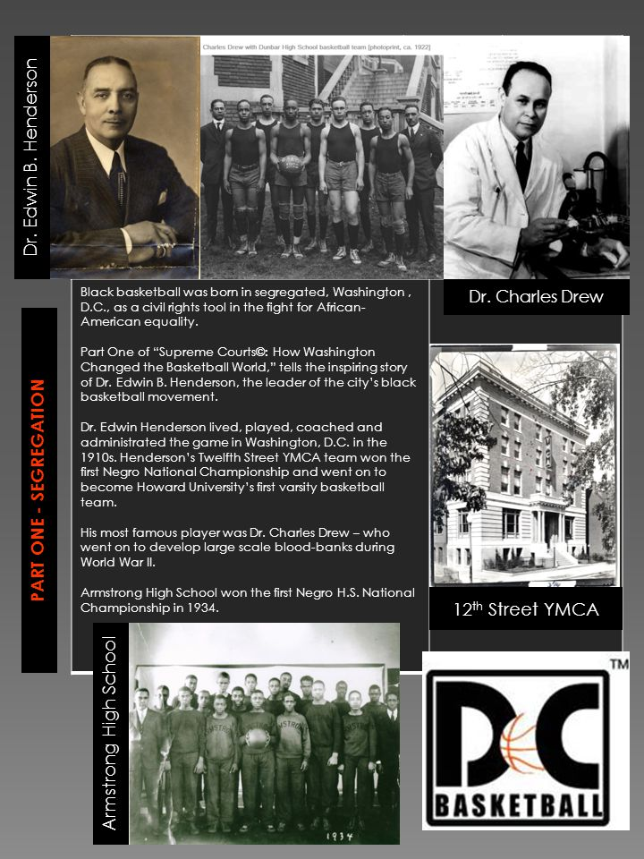Dr. Edwin B. Henderson PART ONE - SEGREGATION Black basketball was born in segregated, Washington, D.C., as a civil rights tool in the fight for Afric