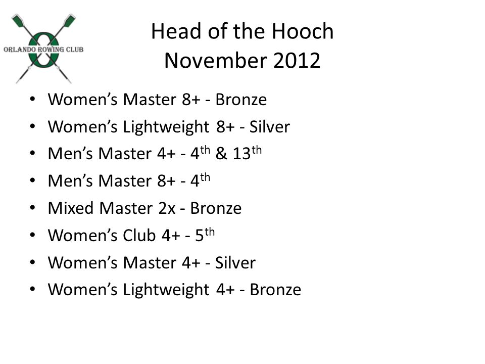 Head of the Hooch November 2012 Womens Master 8+ - Bronze Womens Lightweight 8+ - Silver Mens Master th & 13 th Mens Master th Mixed Master 2x - Bronze Womens Club th Womens Master 4+ - Silver Womens Lightweight 4+ - Bronze