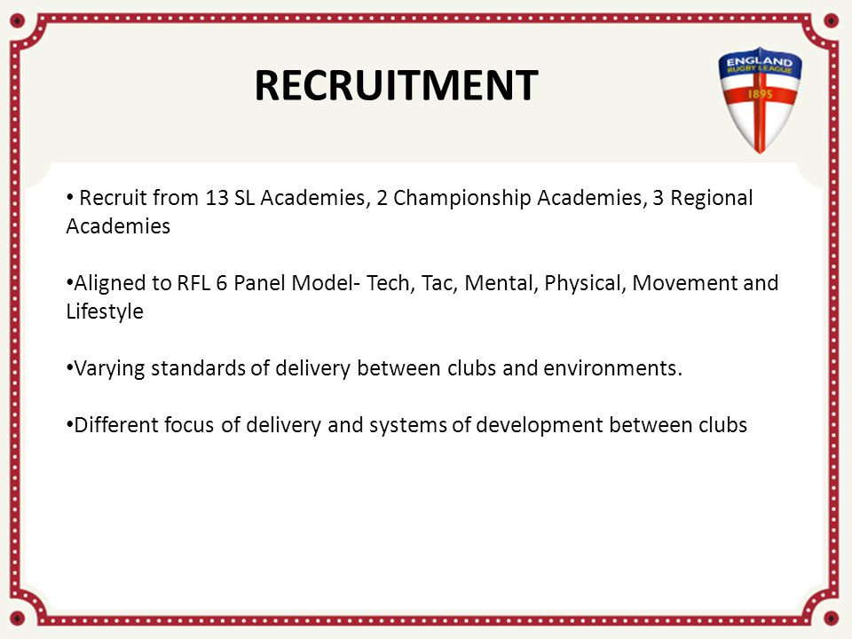 RECRUITMENT Recruit from 13 SL Academies, 2 Championship Academies, 3 Regional Academies Aligned to RFL 6 Panel Model- Tech, Tac, Mental, Physical, Movement and Lifestyle Varying standards of delivery between clubs and environments.