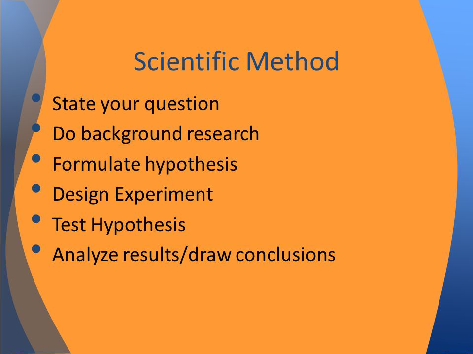 State your question Do background research Formulate hypothesis Design Experiment Test Hypothesis Analyze results/draw conclusions Scientific Method