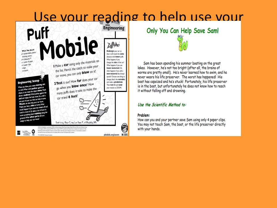 Use your reading to help use your problem solving skills