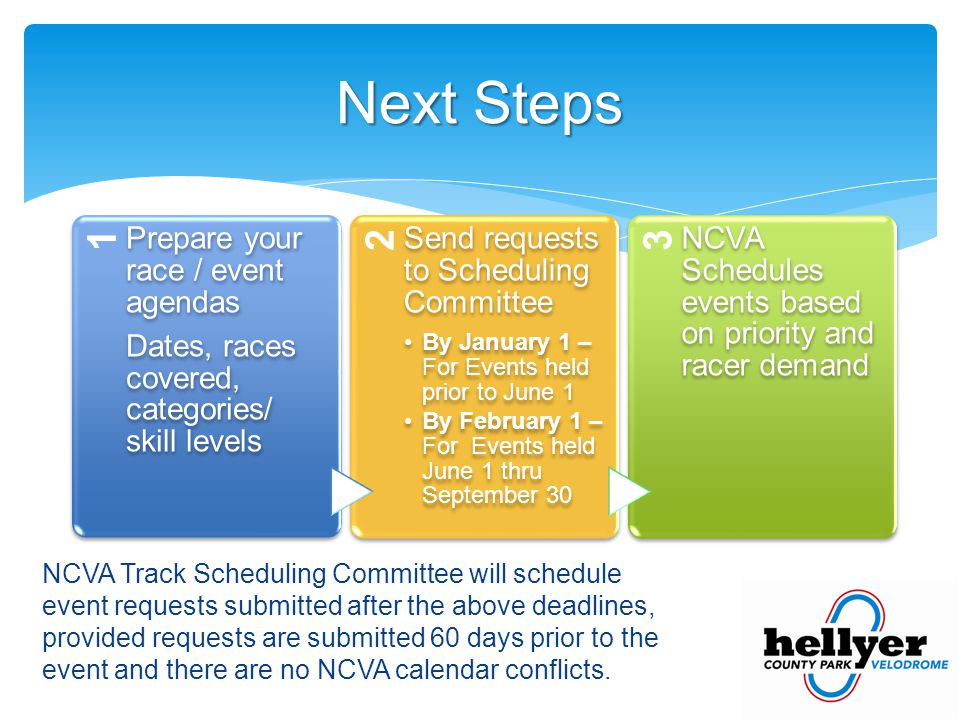 NCVA Track Scheduling Committee will schedule event requests submitted after the above deadlines, provided requests are submitted 60 days prior to the event and there are no NCVA calendar conflicts.
