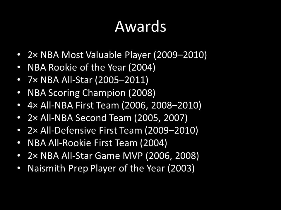 Awards 2× NBA Most Valuable Player (2009–2010) NBA Rookie of the Year (2004) 7× NBA All-Star (2005–2011) NBA Scoring Champion (2008) 4× All-NBA First Team (2006, 2008–2010) 2× All-NBA Second Team (2005, 2007) 2× All-Defensive First Team (2009–2010) NBA All-Rookie First Team (2004) 2× NBA All-Star Game MVP (2006, 2008) Naismith Prep Player of the Year (2003)