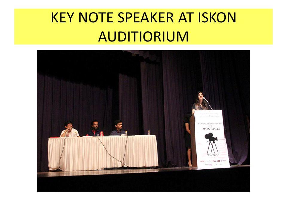 KEY NOTE SPEAKER AT ISKON AUDITIORIUM