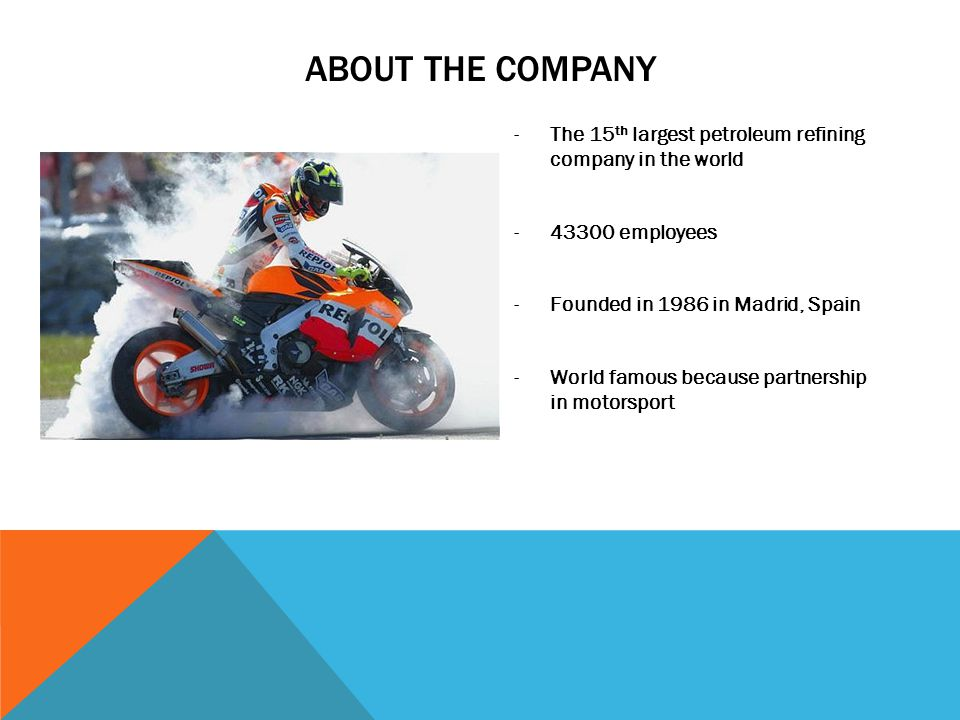 ABOUT THE COMPANY -The 15 th largest petroleum refining company in the world -43300 employees -Founded in 1986 in Madrid, Spain -World famous because