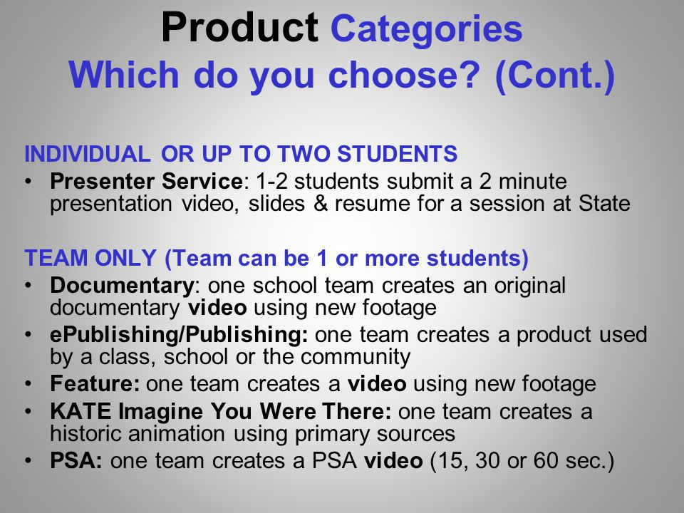 Product Categories Which do you choose.