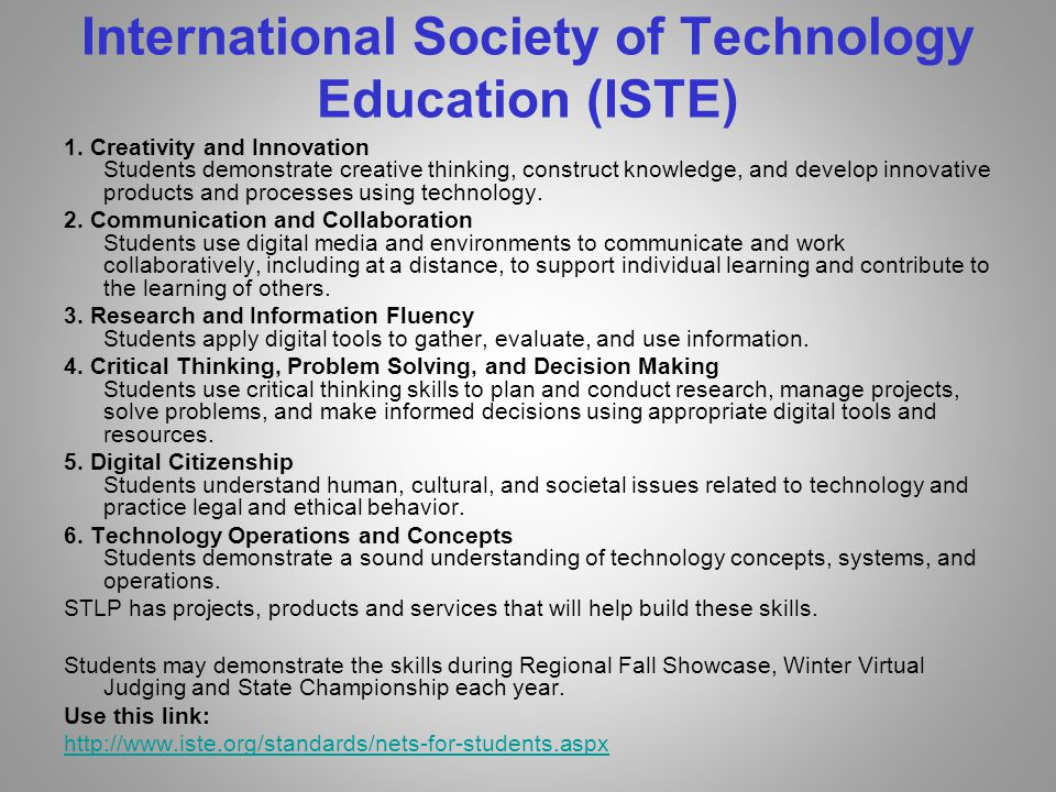 International Society of Technology Education (ISTE) 1.