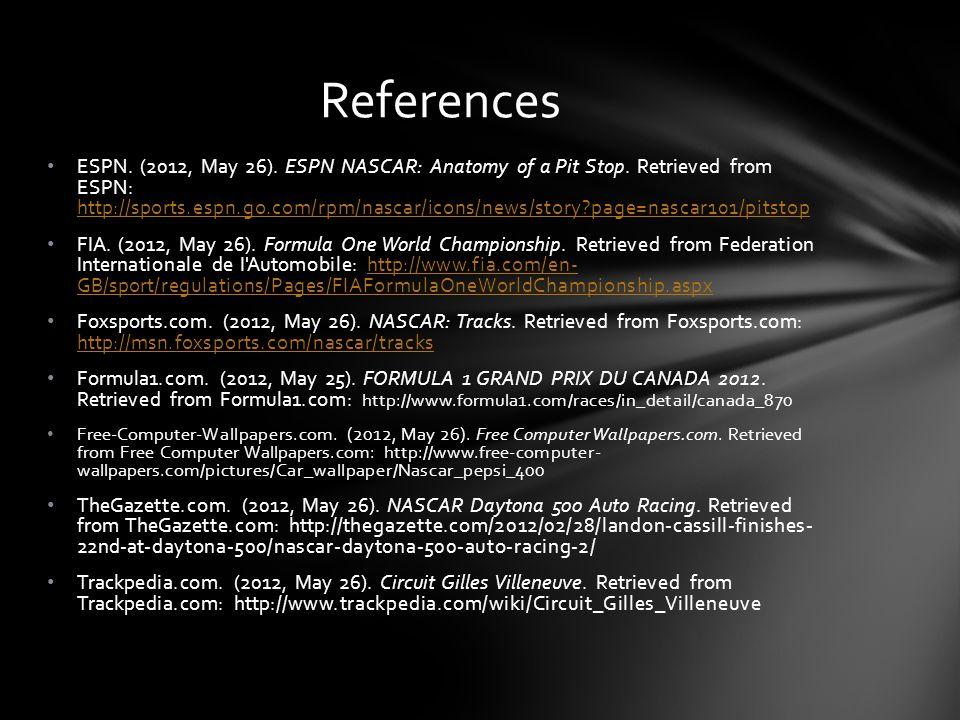 ESPN. (2012, May 26). ESPN NASCAR: Anatomy of a Pit Stop. Retrieved from ESPN: http://sports.espn.go.com/rpm/nascar/icons/news/story?page=nascar101/pi