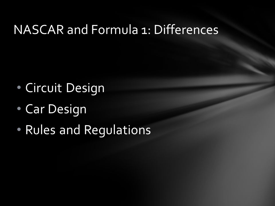NASCAR Official Rules and Regulations are not posted for the Public Lack of Publication causes confusion on Official Rulings Formula 1 Official Rules and Regulations are available to the Public (FIA, 2012) Publication increases understanding of Official Rulings Official Rules and Regulations