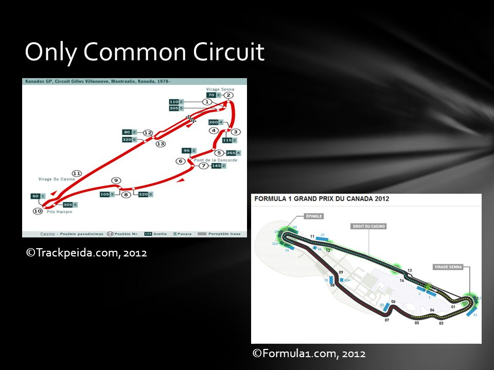 Only Common Circuit ©Formula1.com, 2012 ©Trackpeida.com, 2012