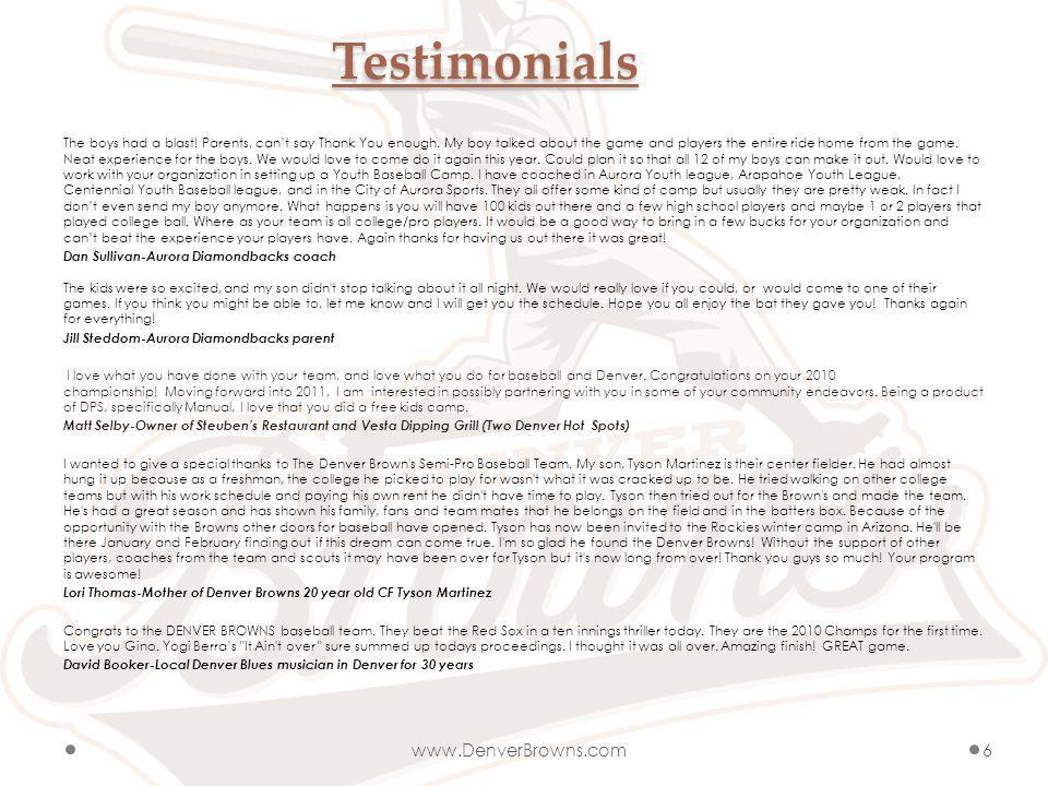 Testimonials The boys had a blast. Parents, cant say Thank You enough.