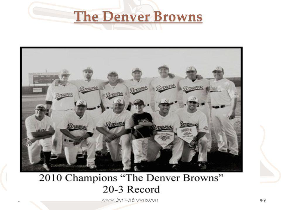 Browns Contacts Gino Grasso President and Founder 720-934-1916 denverbrownsbaseball@yahoo.com Matthew Repplinger Denver Division Manager 303-304-0156 repdude@hotmail.com Mike Chavez Grand Junction Division Manager 970-596-6634 gjbrownsbaseball@yahoo.com www.DenverBrowns.com www.facebook.com/denverbrowns http://twitter.com/brownsbaseball www.DenverBrowns.com10