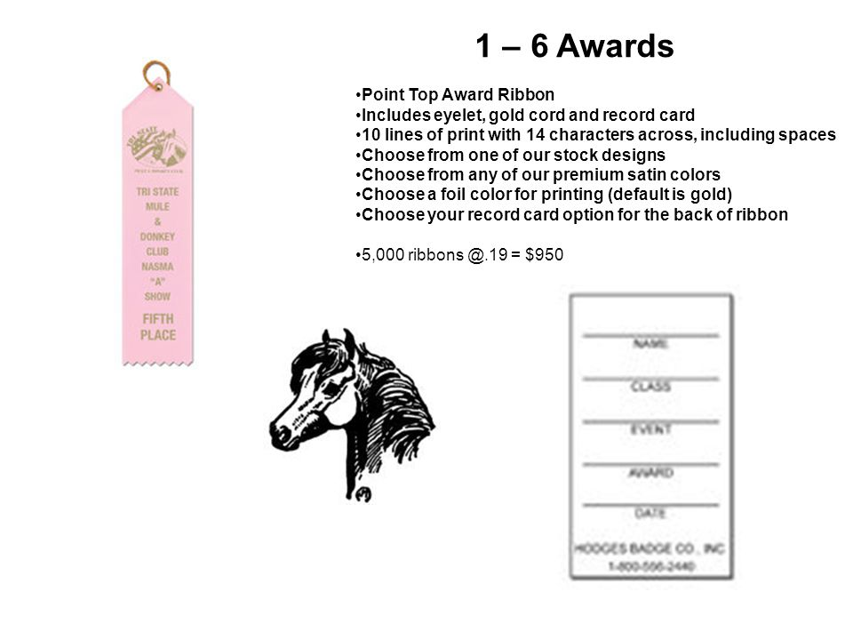Award Costs Option 1 Total Ribbons Needed: – Approx total classes: 250 – 3 judges; 750 classes – 1-6 placing for 750 classes: 4,500 ribbons needed – Purchase 5,000 ribbons at.19 = $950 Championship Rosettes Needed: – Approx total classes: 42 (no driving classes) – 3 judges, 126 rosettes needed – Purchase 126 rosettes at $1.60 = $201.60 Supreme Sashes Needed – Approx total classes: 12 (no driving classes) – 3 judges; 36 sashes needed – Purchase 36 sashes at $7.90 = 284.40 Additional $10 custom class fee total : $10 Change to typing: $3 per change Total Award Costs: $1,446 (does not include additional $3 per class change on sashes) Option 2 Total Rosettes Needed: – Approx total classes: 250 – 3 judges; 750 classes – 1-6 placing for 750 classes: 4,500 ribbons needed – Purchase 4,500 ribbons at 1.25 = $5625 Championship Rosettes Needed: – Approx total classes: 42 (no driving classes) – 3 judges, 126 rosettes needed – Purchase 126 rosettes at $1.60 = $201.60 Supreme Sashes Needed – Approx total classes: 12 (no driving classes) – 3 judges; 36 sashes needed – Purchase 36 sashes at $7.90 = 284.40 Additional $10 custom class fee total : $10 Change to typing: $3 per change Total Award Costs: $6,111 (does not include additional $3 per class change on sashes)