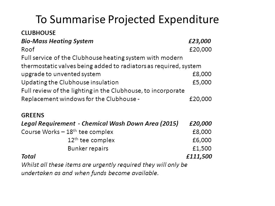 To Summarise Projected Expenditure CLUBHOUSE Bio-Mass Heating System £23,000 Roof £20,000 Full service of the Clubhouse heating system with modern thermostatic valves being added to radiators as required, system upgrade to unvented system £8,000 Updating the Clubhouse insulation £5,000 Full review of the lighting in the Clubhouse, to incorporate Replacement windows for the Clubhouse - £20,000 GREENS Legal Requirement - Chemical Wash Down Area (2015) £20,000 Course Works – 18 th tee complex £8,000 12 th tee complex £6,000 Bunker repairs £1,500 Total£111,500 Whilst all these items are urgently required they will only be undertaken as and when funds become available.