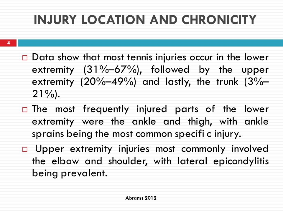 Injuries and time of exposure for tennis At the start of the study, the players also filled out a questionnaire about personal data, left or right handed and dominant leg and possible previous injuries as well as the number of tennis hours per week.