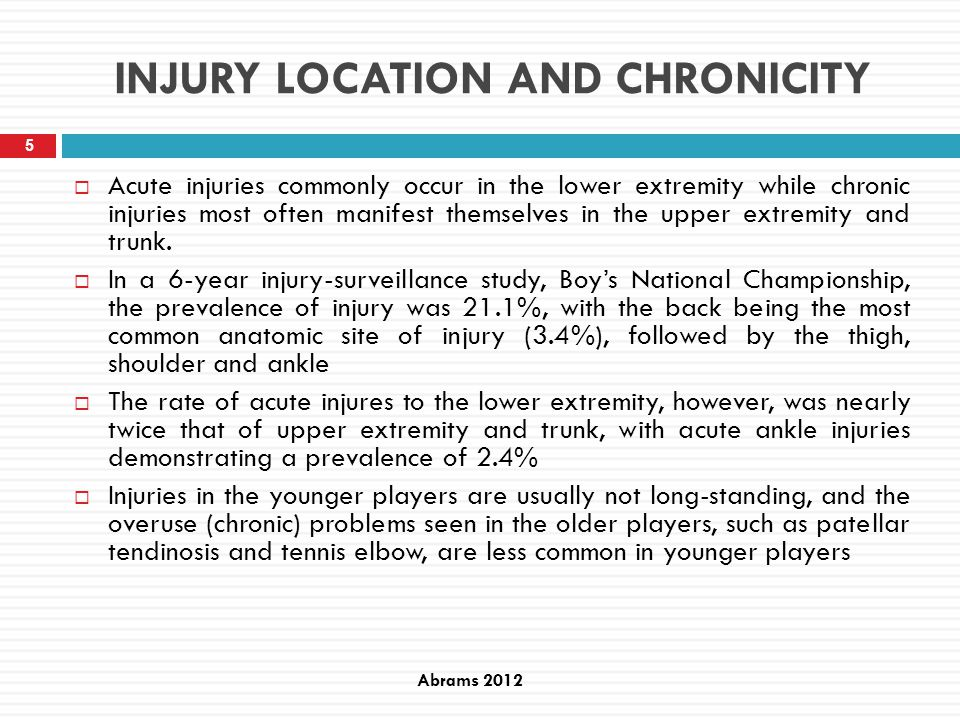 Definitions Severity of medical condition The number of days that have elapsed from the date of onset of the medical condition to the date of the players return to full participation in tennis training and availability for match play.