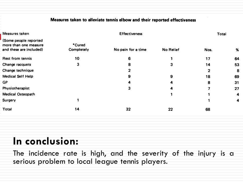Injury surveillance at the USTA Boys Tennis Championship: A 6-yr study Hutchinson MR, Laprade RF, Burnett QM, Moss R, Terpstra J Med & Sci in Spor & Exer, 1995,826-830 Subjects: USTA Boys Tennis Championship from 1986-1988, 1990-1992.