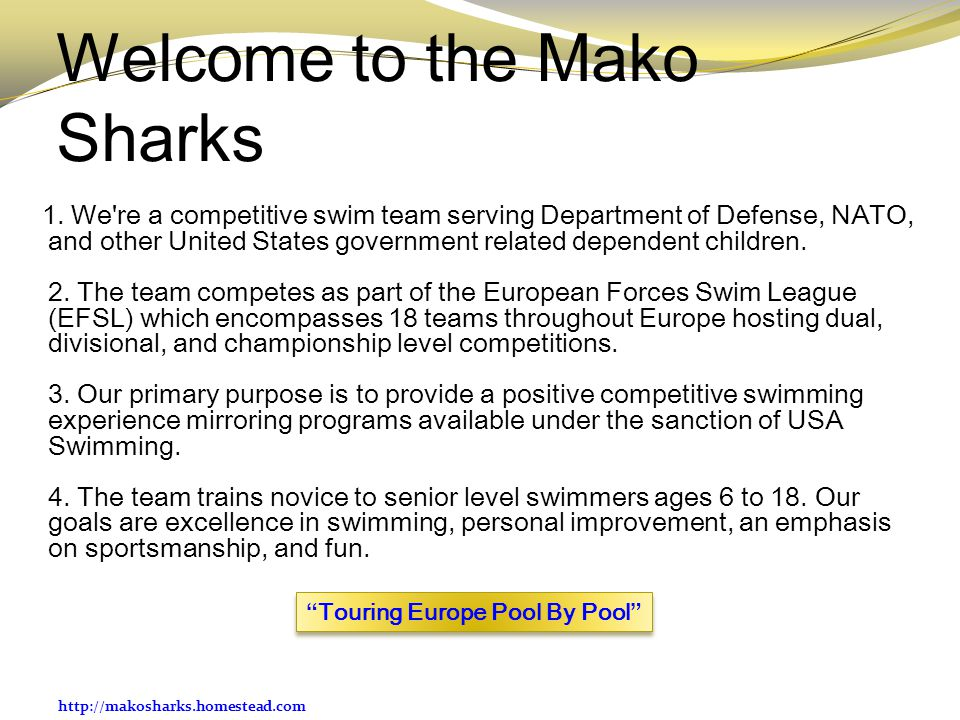 http://makosharks.homestead.com Welcome to the Mako Sharks 1.
