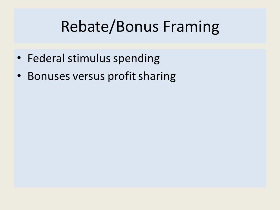 Rebate/Bonus Framing Federal stimulus spending Bonuses versus profit sharing