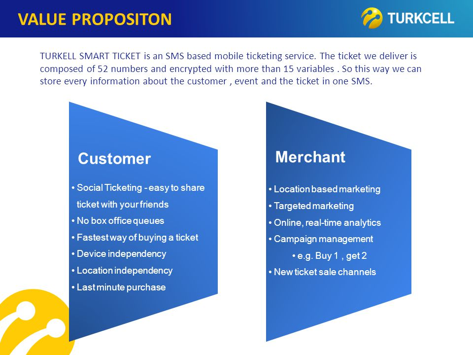 TURKCELL DAHİLİ VALUE PROPOSITON Customer Social Ticketing - easy to shareticket with your friends No box office queues Fastest way of buying a ticket Device independency Location independency Last minute purch ase Merchant Location based marketing Targeted marketing Online, real-time analytics Campaign management e.g.
