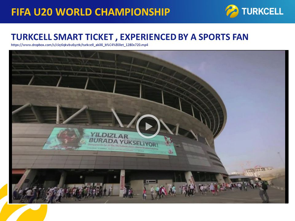 TURKCELL DAHİLİ WEB LINKS www.turkcell.com.tr/c/docs/announcements/announcements_20121114_Turkcel l_Smart_Ticket.pdf http://www.prnewswire.com/news-releases/turkcell-smart-ticket-starts-new- era-at-stadiums-179279131.html http://haber.gazetevatan.com/turkcell-teknolojisi-ile-akilli-bilet-u20-finalinde- cebinizde/553626/43/teknoloji http://medya.turkcell.com.tr/stadyumlarda-turkcell-akilli-bilet-donemi-basliyor- bulten_3657.html