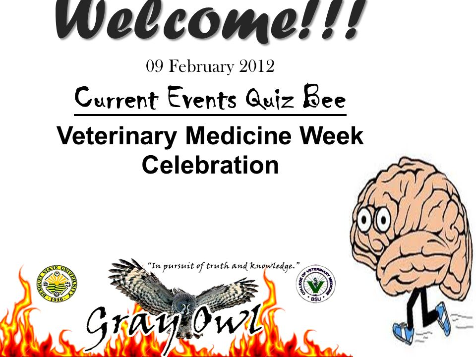 Welcome!!! Welcome!!! 09 February 2012 Current Events Quiz Bee Veterinary Medicine Week Celebration