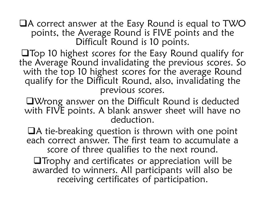 A correct answer at the Easy Round is equal to TWO points, the Average Round is FIVE points and the Difficult Round is 10 points. Top 10 highest score