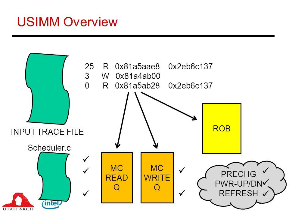10 USIMM Overview 25 R 0x81a5aae8 0x2eb6c137 3 W 0x81a4ab00 0 R 0x81a5ab28 0x2eb6c137 INPUT TRACE FILE ROB MC READ Q MC WRITE Q PRECHG PWR-UP/DN REFRESH Scheduler.c
