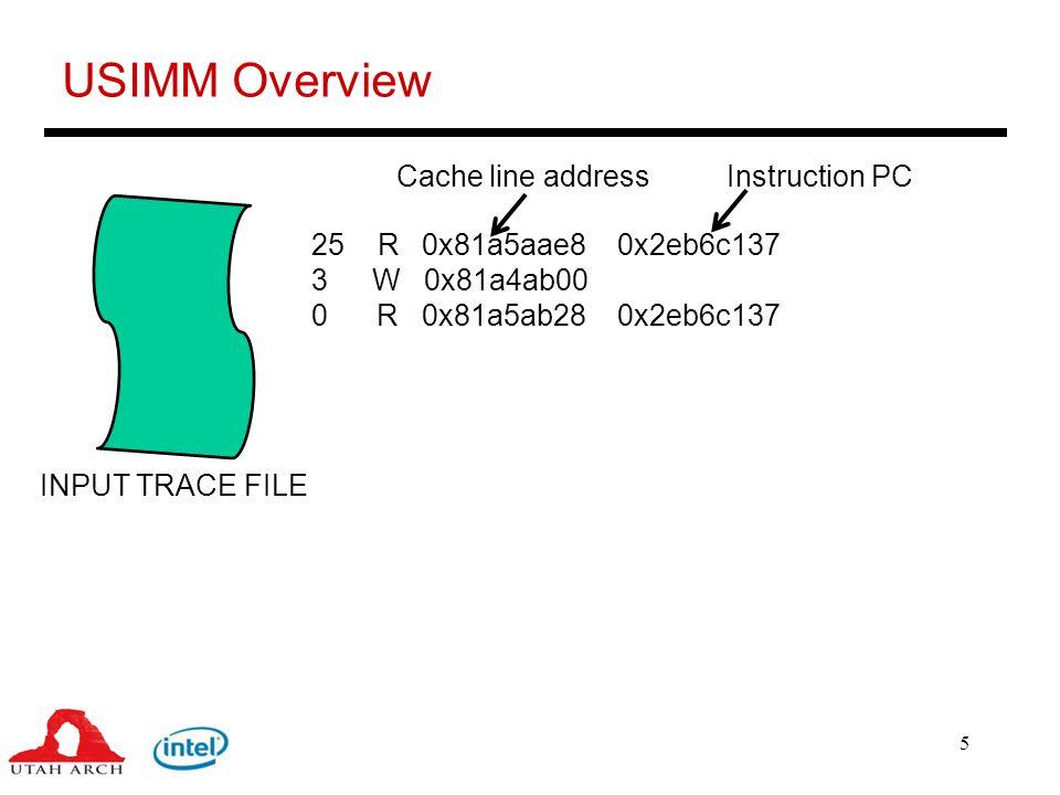6 USIMM Overview 25 R 0x81a5aae8 0x2eb6c137 3 W 0x81a4ab00 0 R 0x81a5ab28 0x2eb6c137 INPUT TRACE FILE ROB