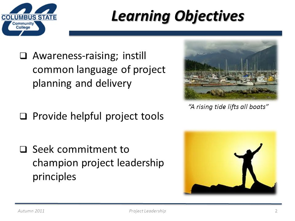 Basic Project Lifecycle Autumn 2011Project Leadership13 Initiation Planning Execution Control & Monitor Closeout Project Management Institute http://www.pmi.org/ http://www.pmi.org/