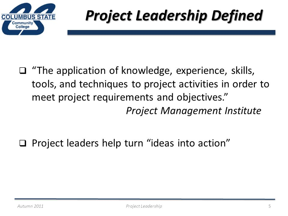 Project Leadership Defined The application of knowledge, experience, skills, tools, and techniques to project activities in order to meet project requirements and objectives.