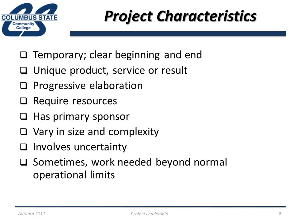 Project Closeout Document to guide closeout meeting Document lessons learned and success factors Confirm operational acceptance Communicate project success Celebration and thank yous Autumn 2011Project Leadership27